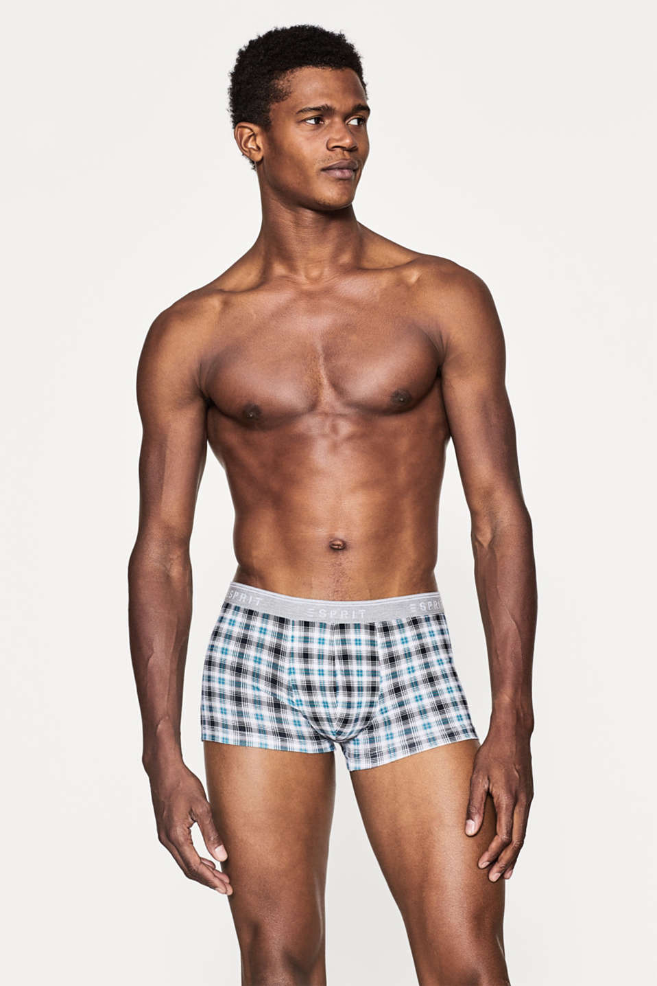 Esprit - Check hipster shorts, cotton/stretch