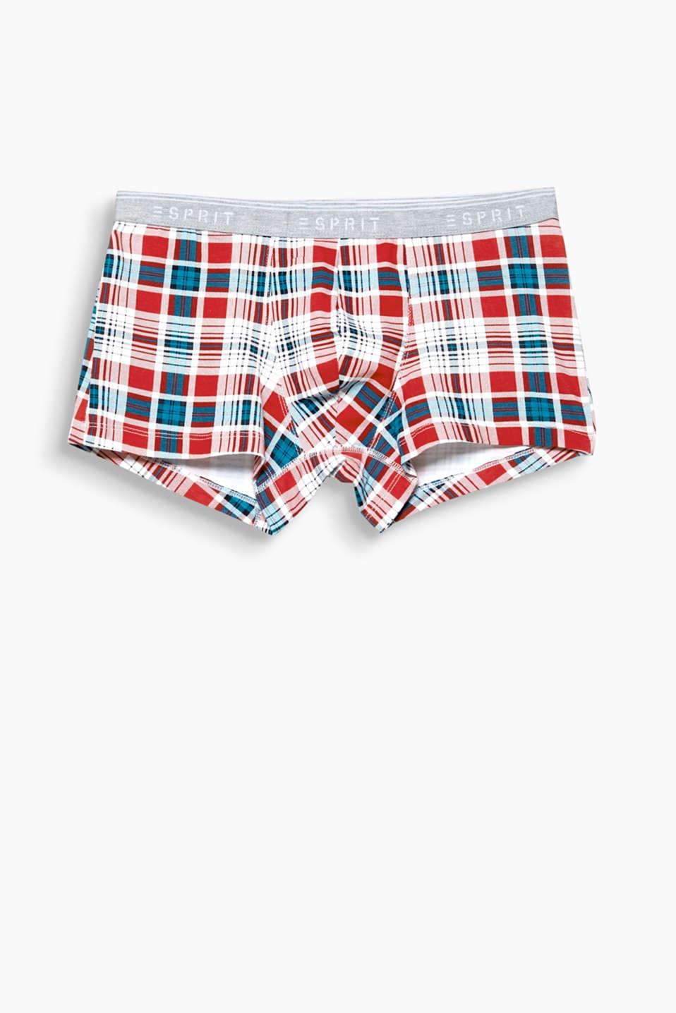 Colourful checks give these comfortable stretch cotton hipster shorts their fashionable look!