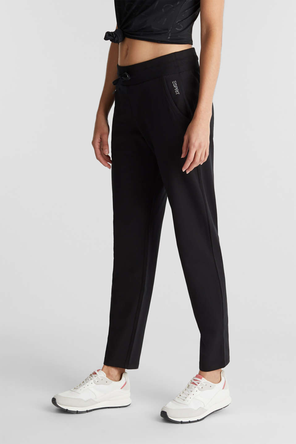 Jersey trousers with a wide elasticated waistband, BLACK, detail image number 0