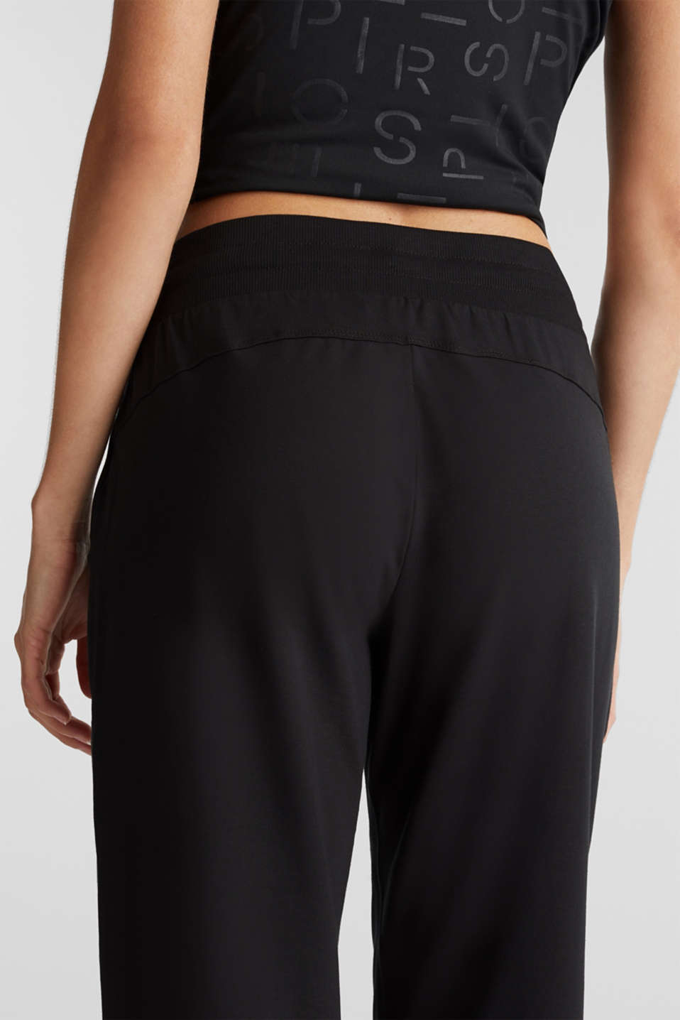 Jersey trousers with a wide elasticated waistband, BLACK, detail image number 5