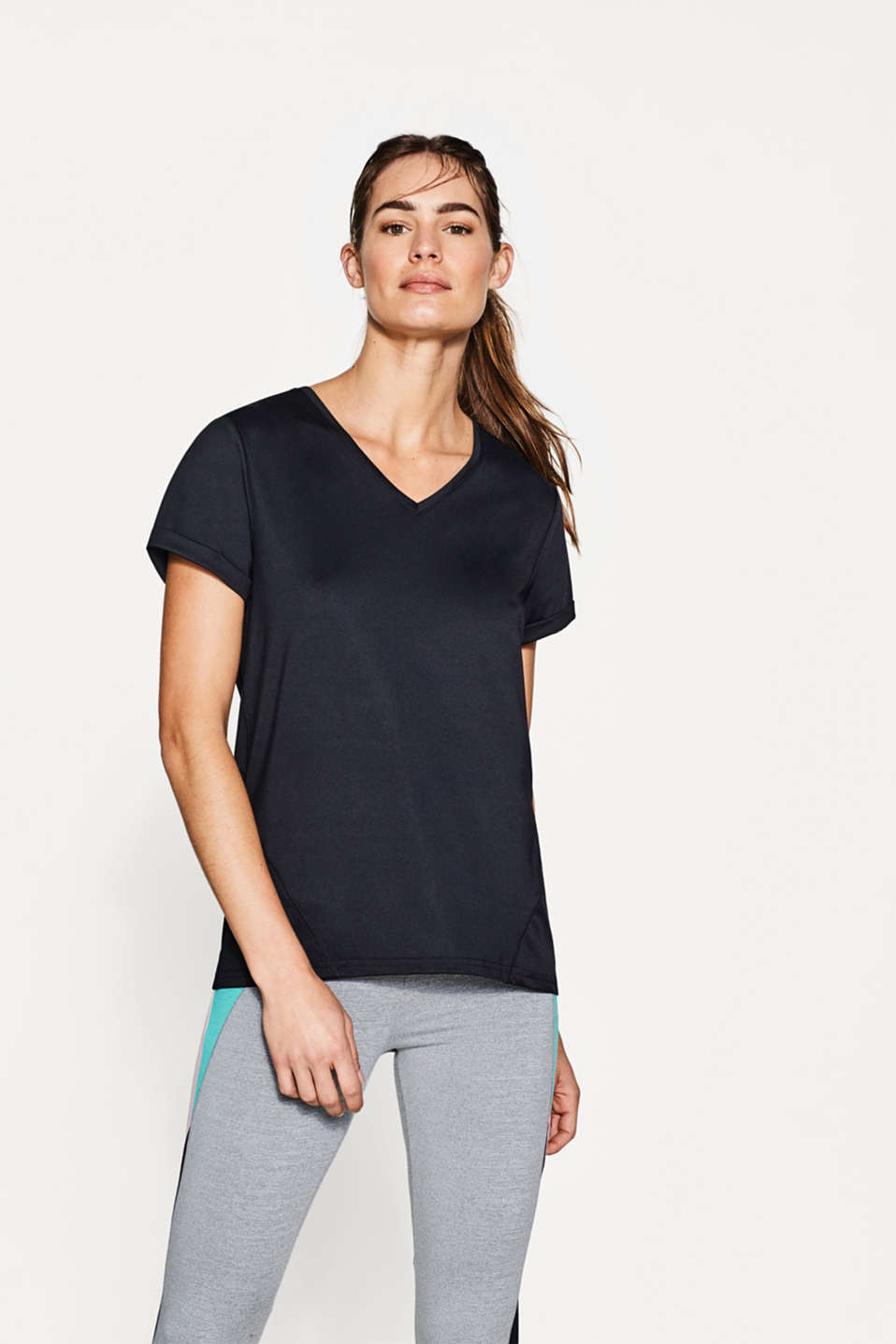 Esprit - Active T-shirt + V-neckline and logo, E-DRY