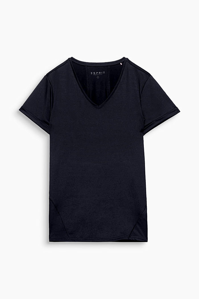 Active T-shirt with a V-neckline and logo, E-DRY, BLACK, detail image number 0
