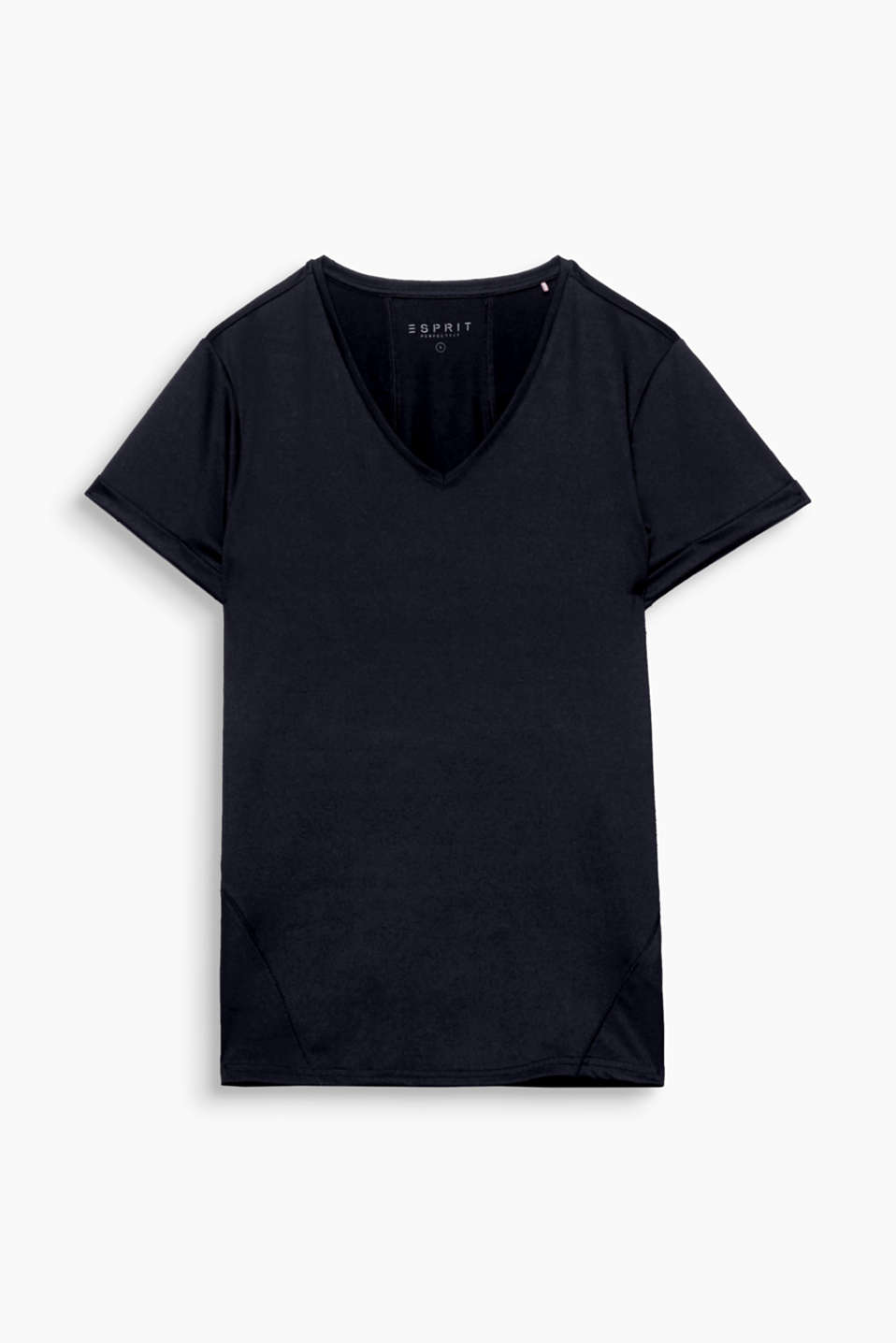 This T-shirt with a V-neckline, logo print and E-DRY technology is casual, comfortable and very functional!