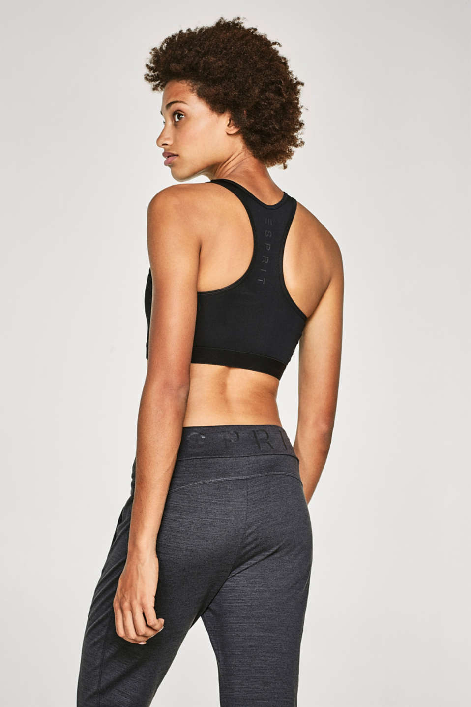 Sports bra with a mesh racer back, E-DRY