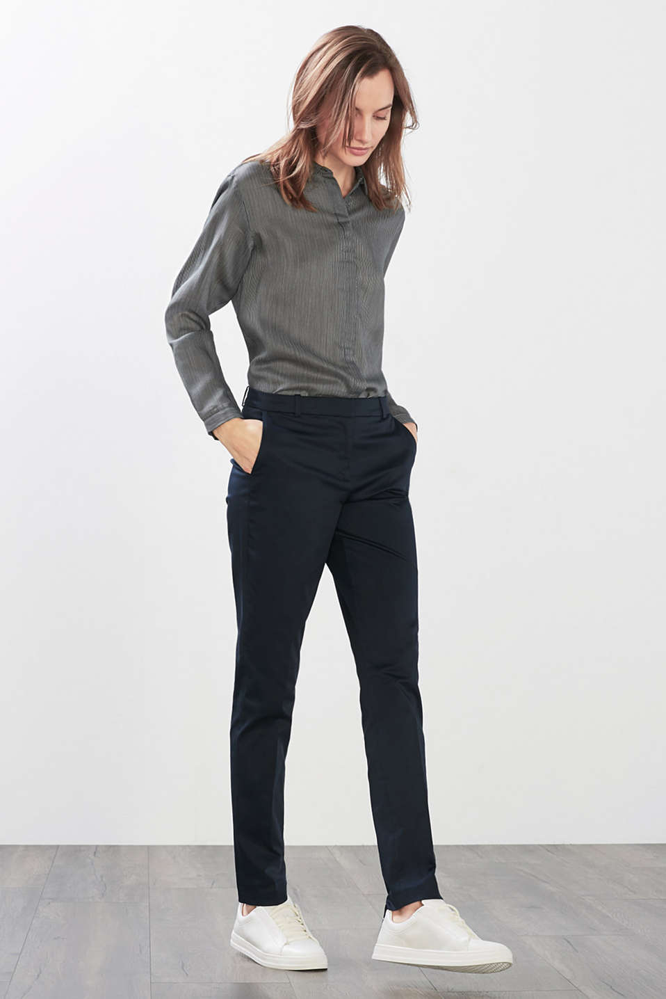 Esprit - Stretchy satined suit trousers