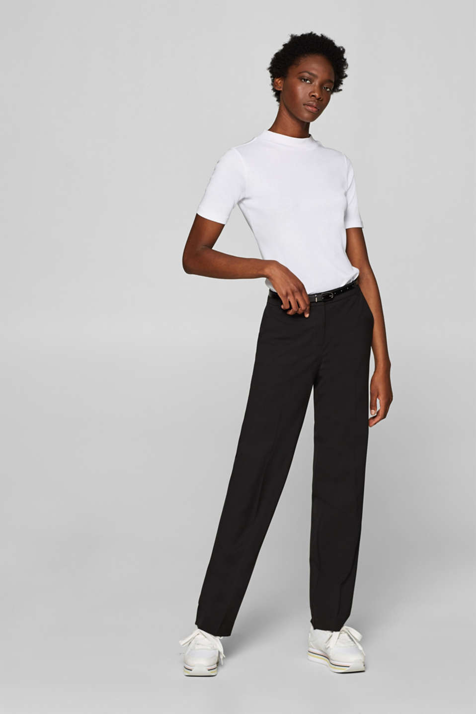 Esprit - Pantalon stretch business à fine ceinture