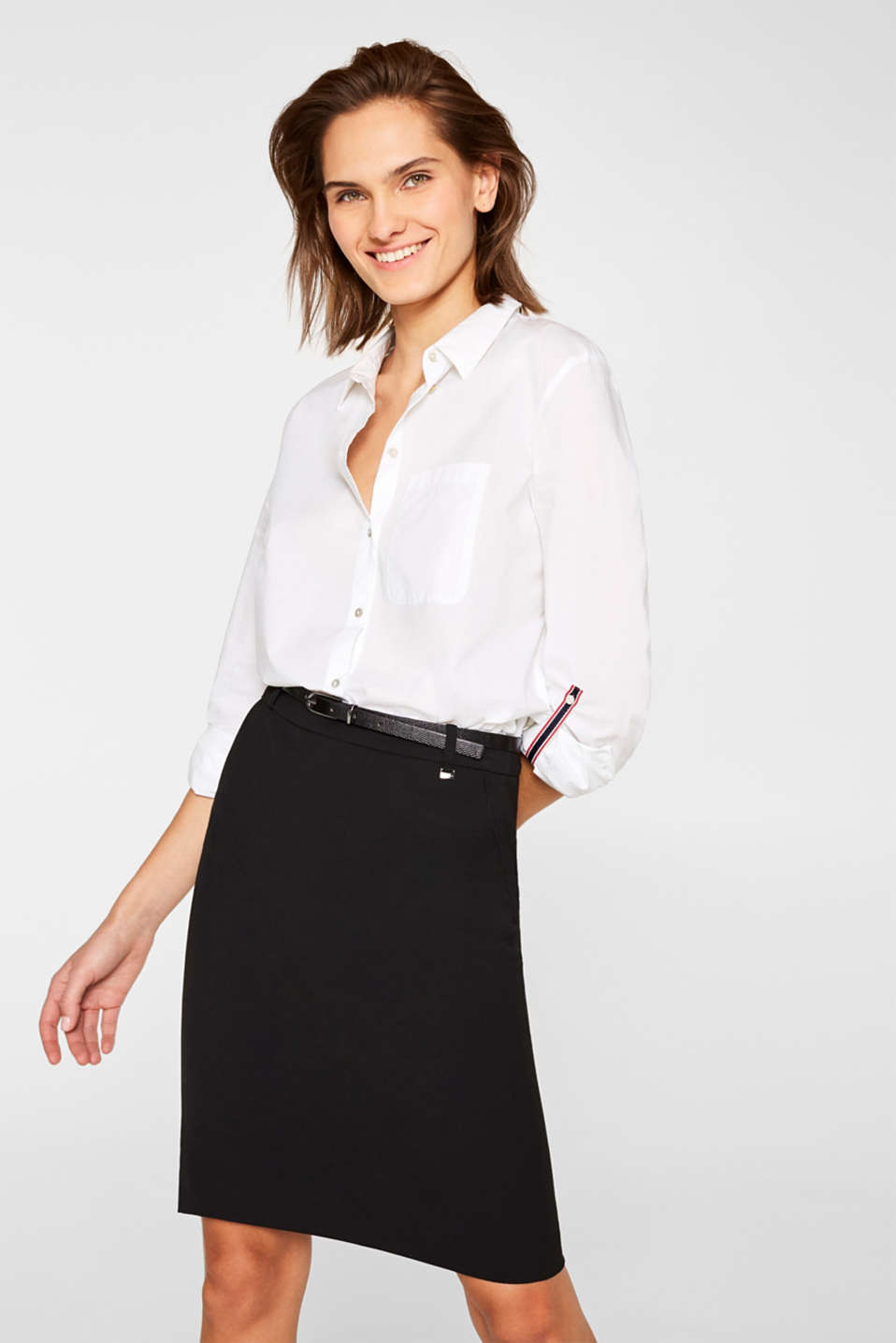 Esprit - Pencil skirt with a belt + stretch for comfort