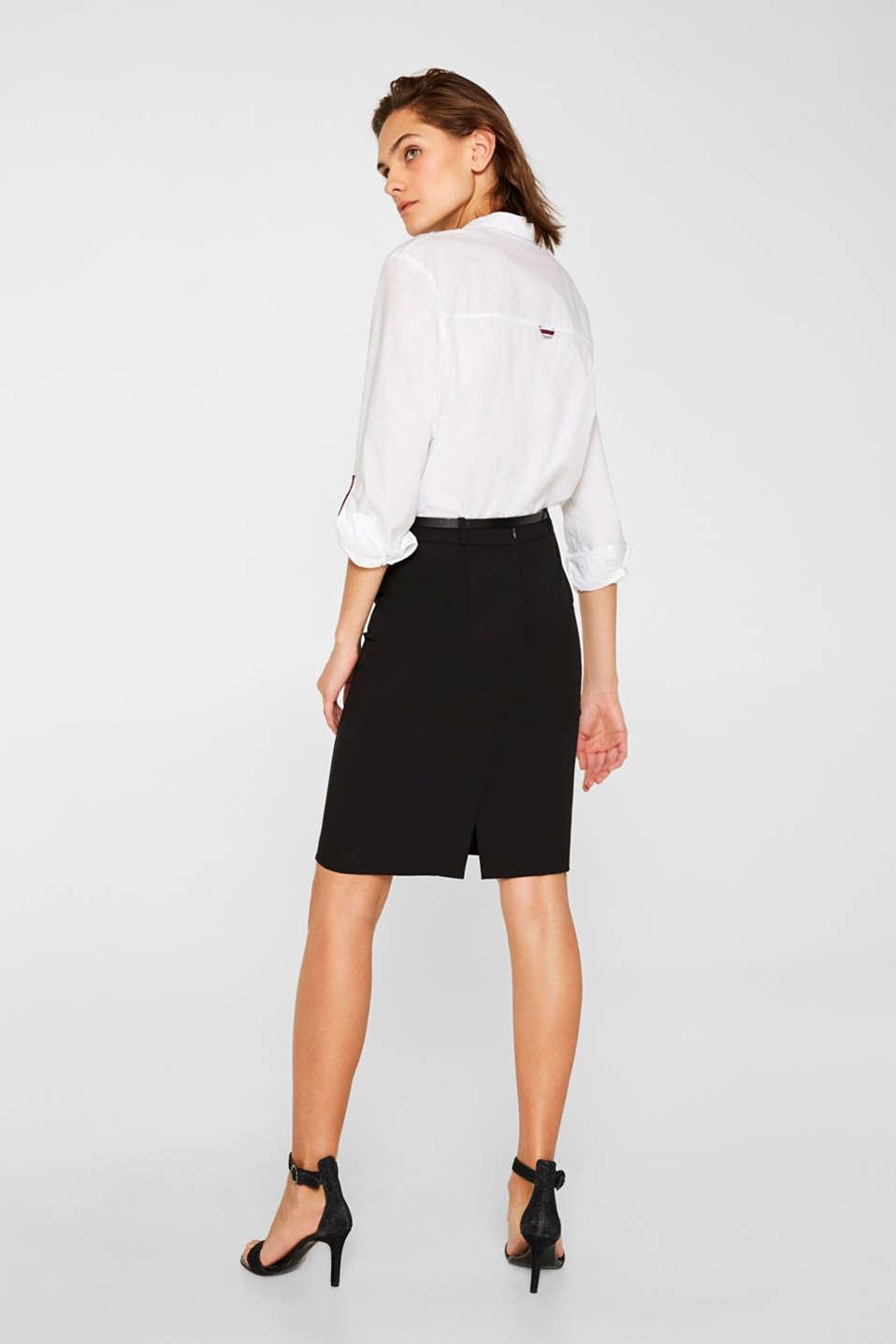 Pencil skirt with a belt + stretch for comfort, BLACK, detail image number 3