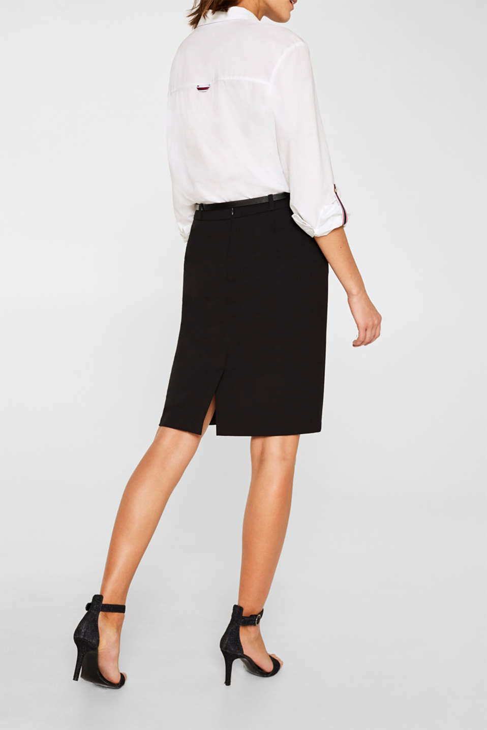 Pencil skirt with a belt + stretch for comfort, BLACK, detail image number 5