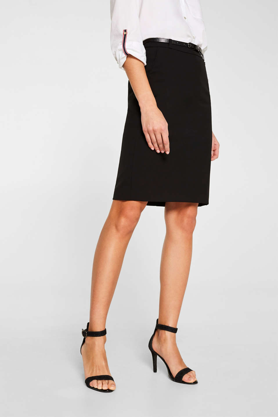 Pencil skirt with a belt + stretch for comfort, BLACK, detail image number 6