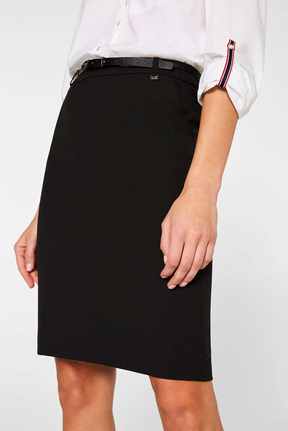 Pencil skirt with a belt + stretch for comfort, BLACK, detail image number 2