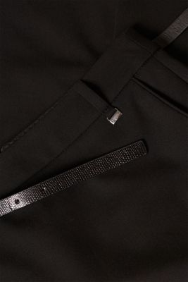 Pencil skirt with a belt + stretch for comfort, BLACK, detail