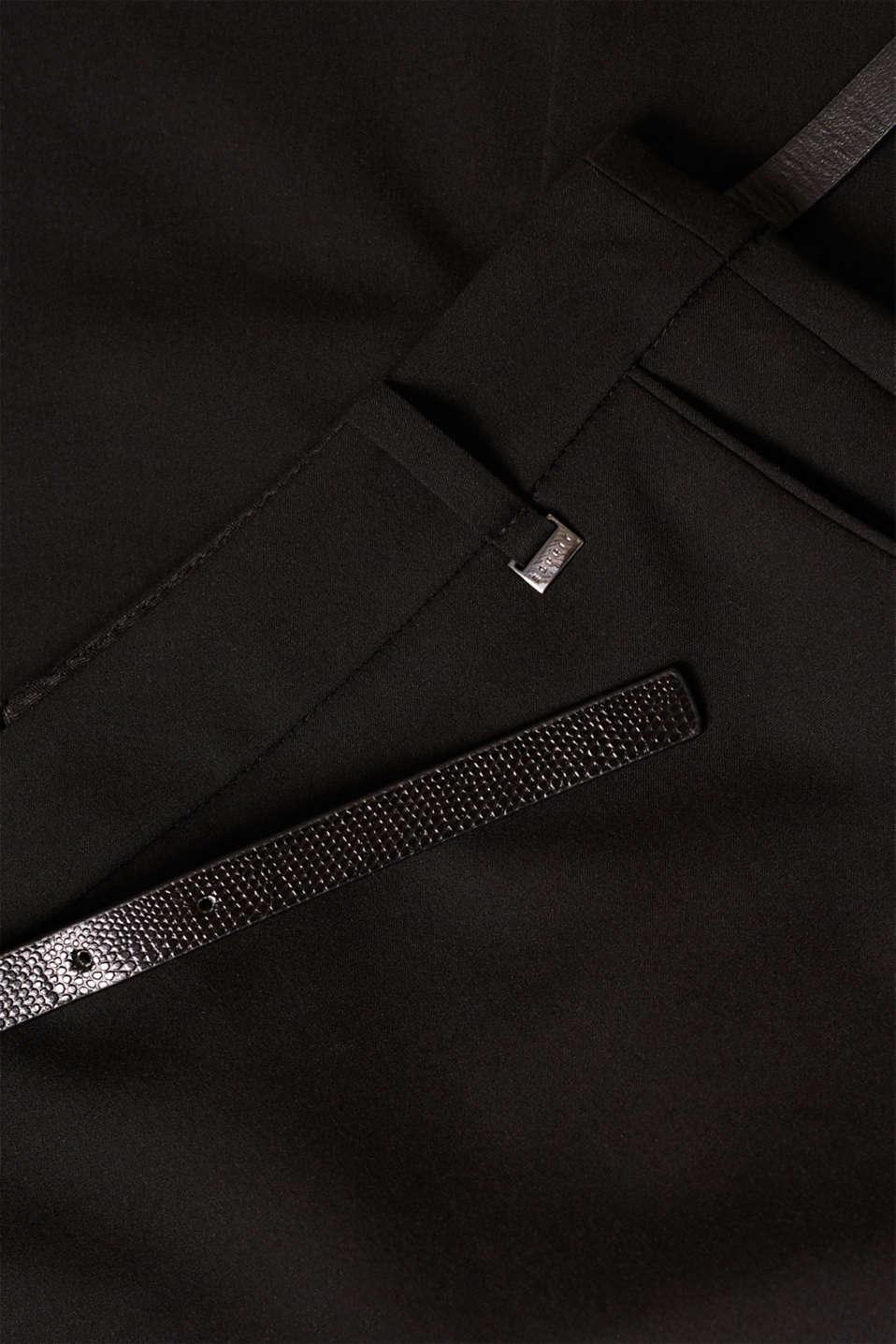 Pencil skirt with a belt + stretch for comfort, BLACK, detail image number 4