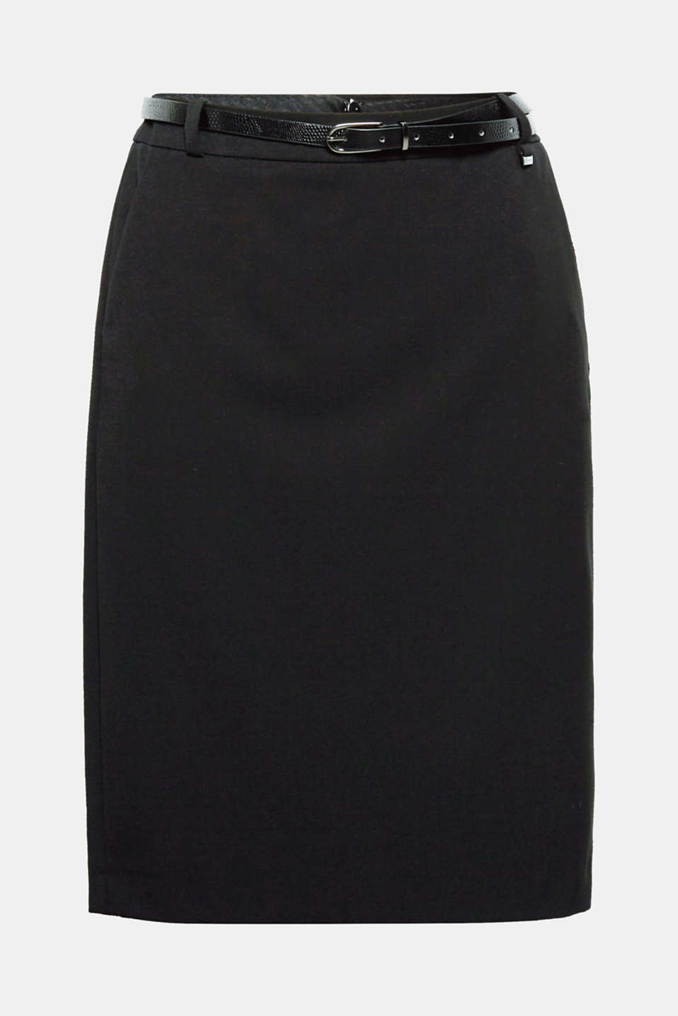 This classic pencil skirt with added stretch for comfort and a crocodile effect belt is a must have for jobs and events!
