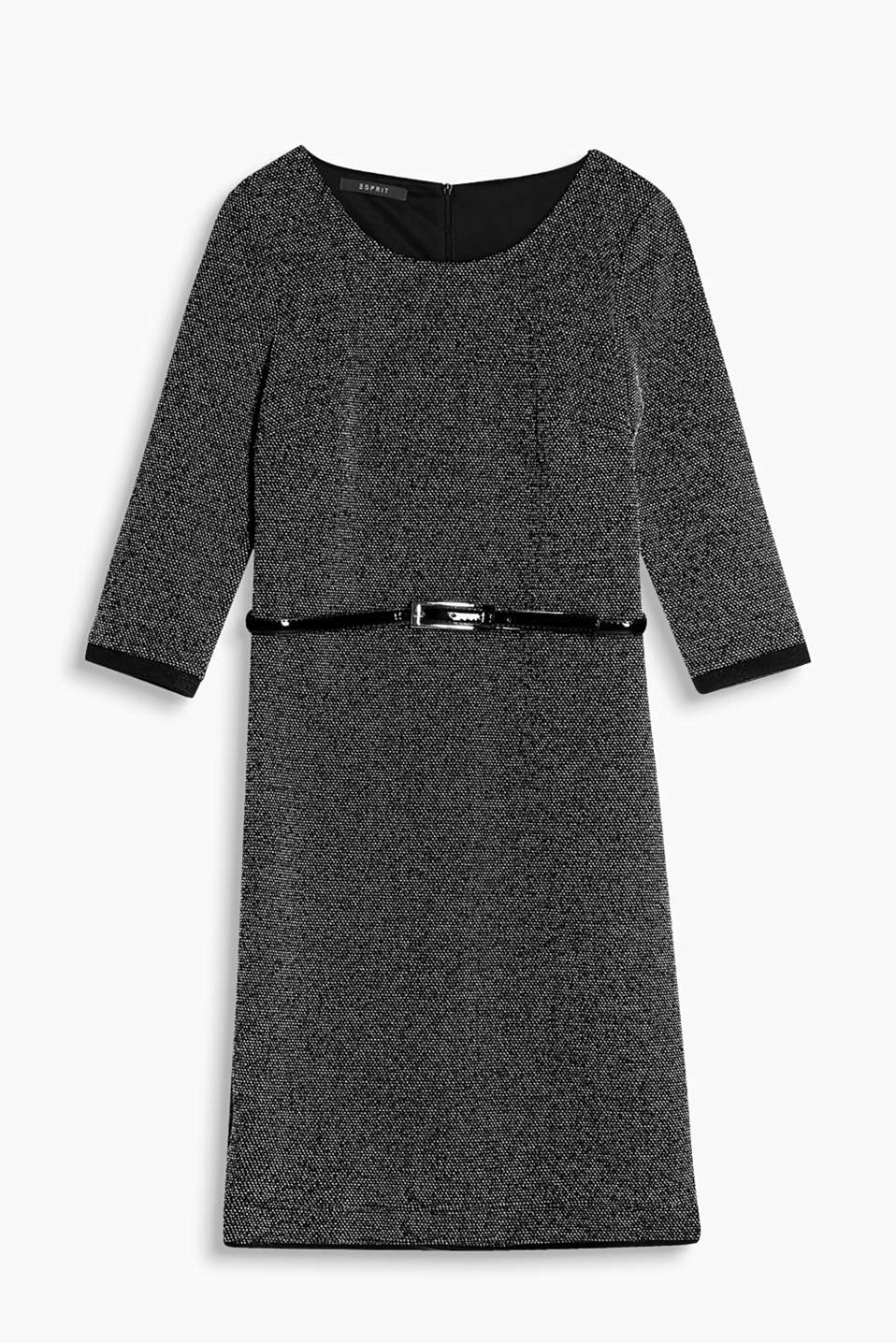 Introducing a dress for any occasion - in comfy jersey with a trendy melange finish and shiny, patent-effect belt