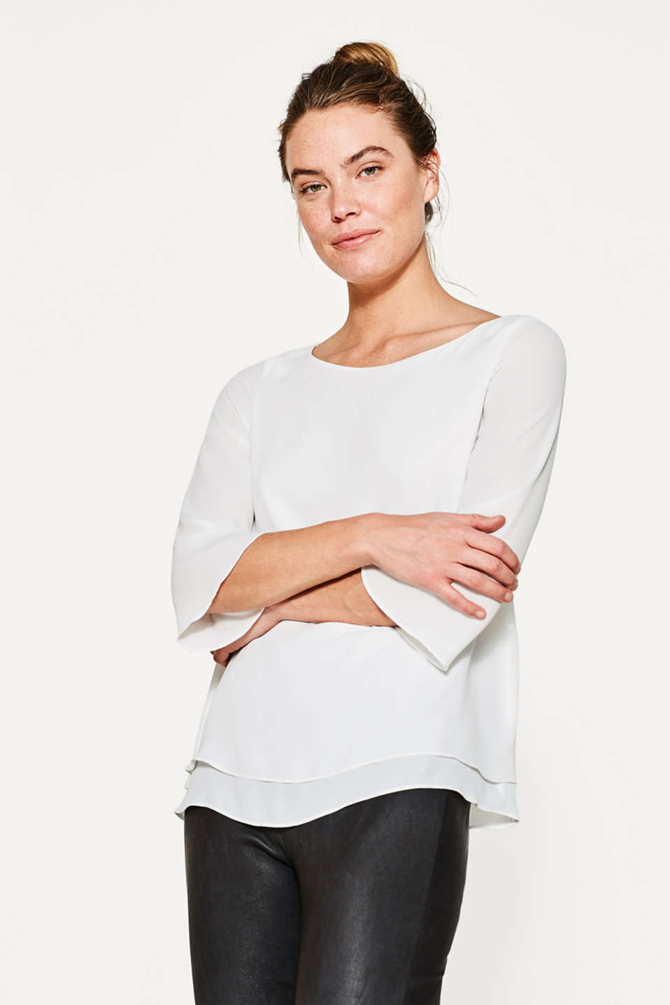 Esprit - Layer-Shirt aus fließendem Georgette