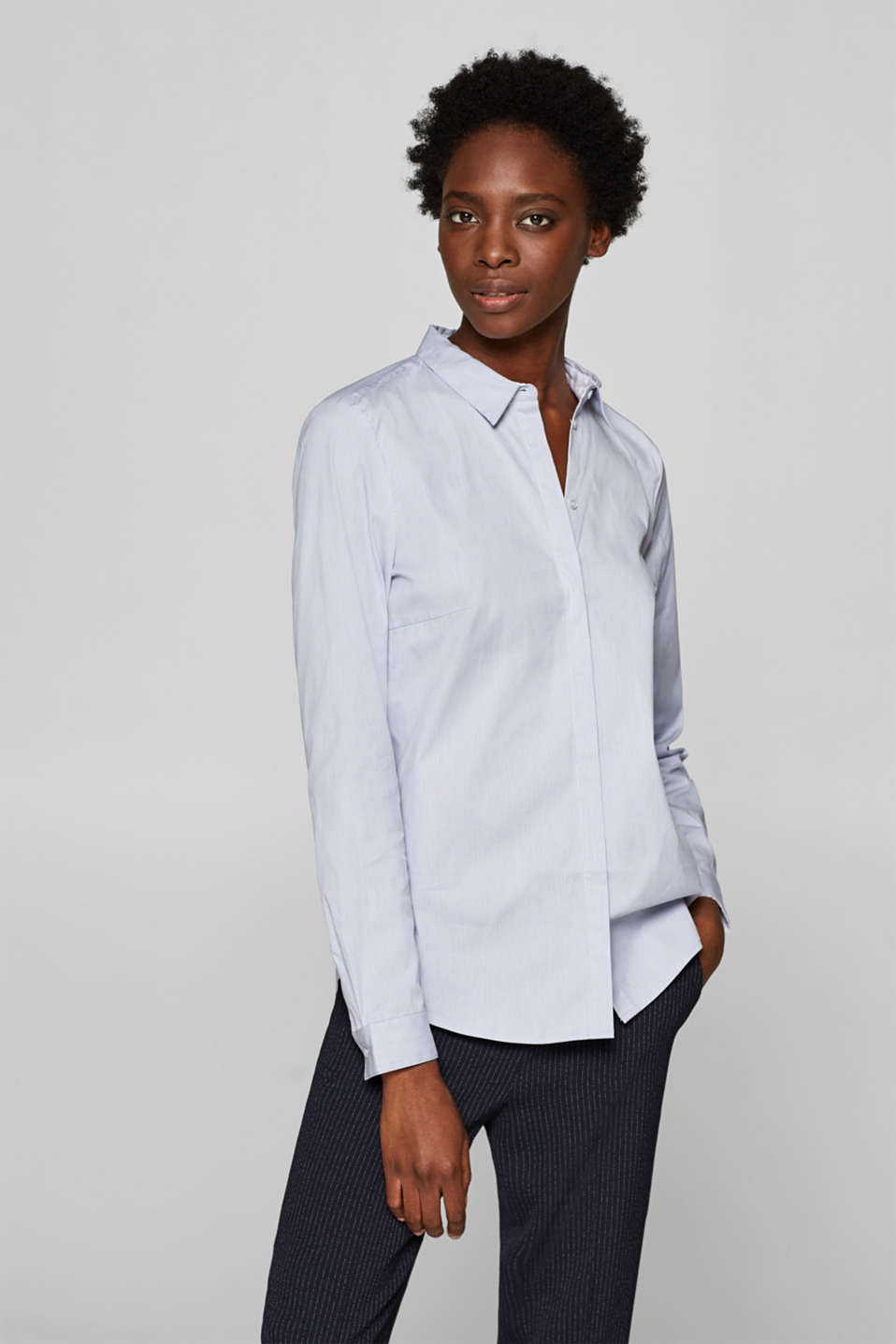 Esprit - Stretch blouse with stretch + stripe pattern