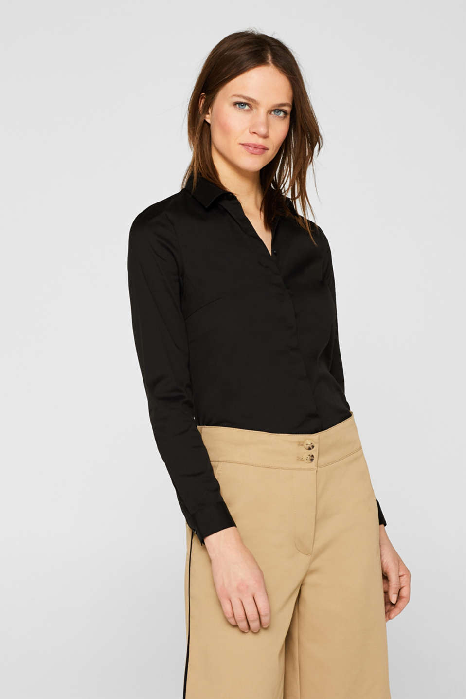 Esprit - Classic shirt blouse with stretch for comfort