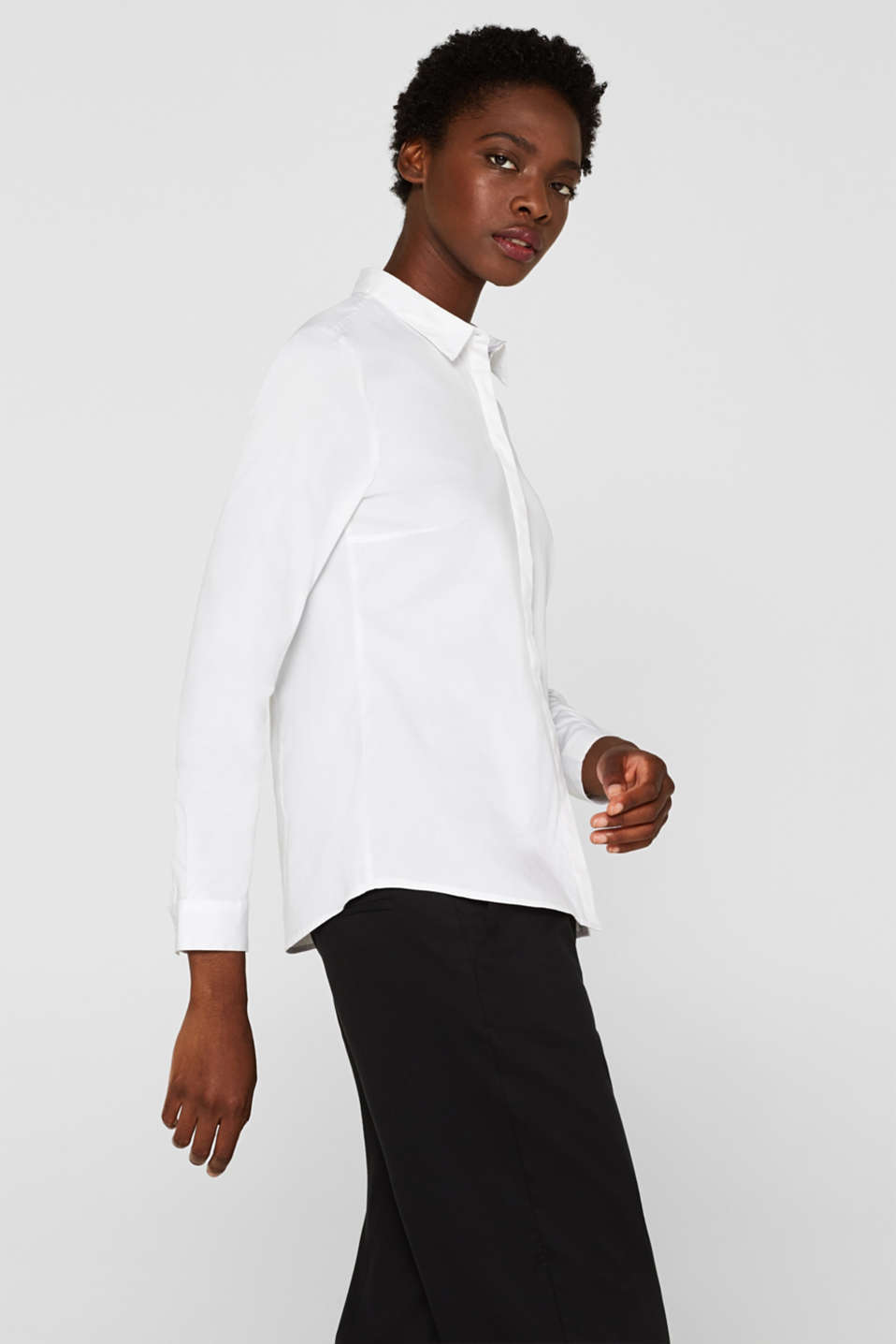 Stretch blouse in a cotton blend, WHITE, detail image number 5