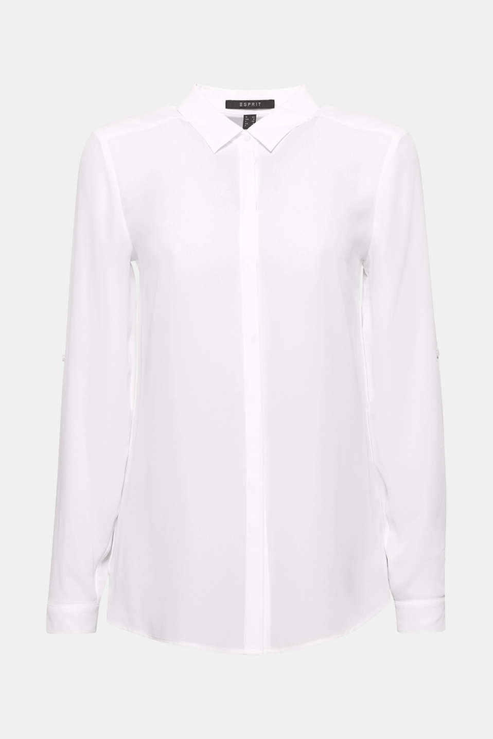 Stretch blouse in a cotton blend, WHITE, detail image number 8