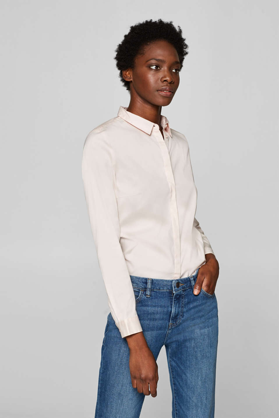 Esprit - Basic stretch blouse in a cotton blend