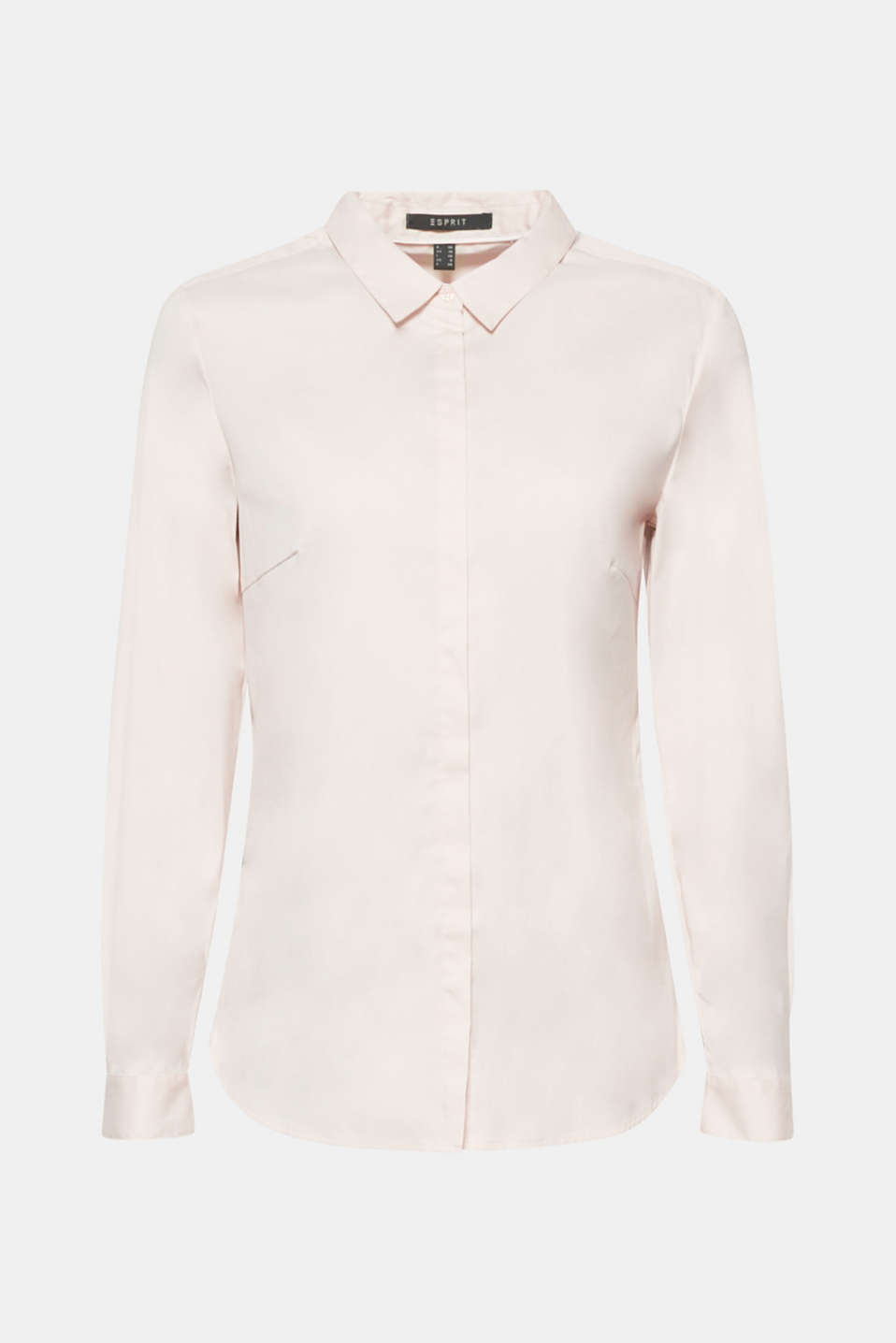Classic business blouse with a shirt collar and concealed button placket in soft, blended cotton