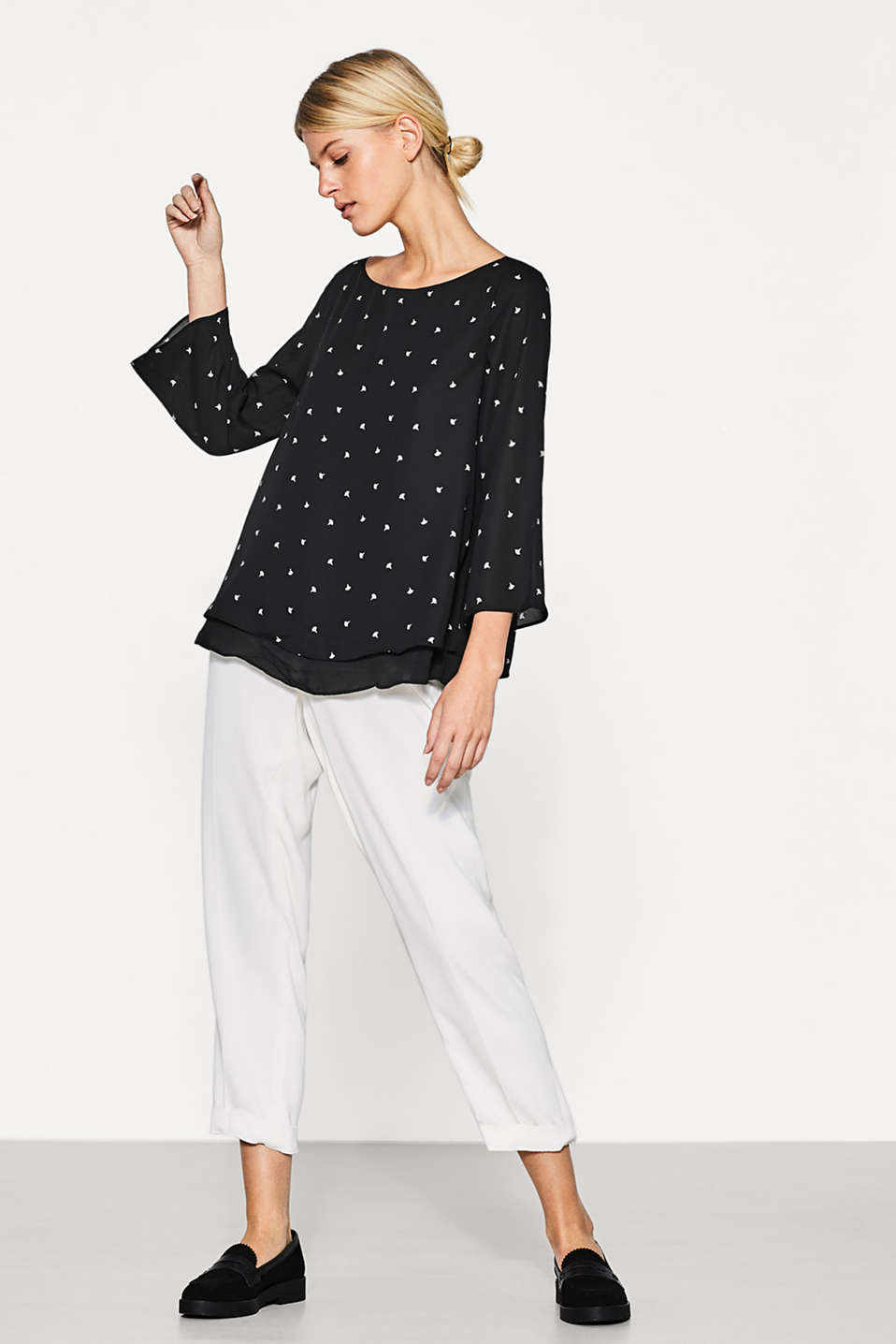 Flowing, layered blouse with a print