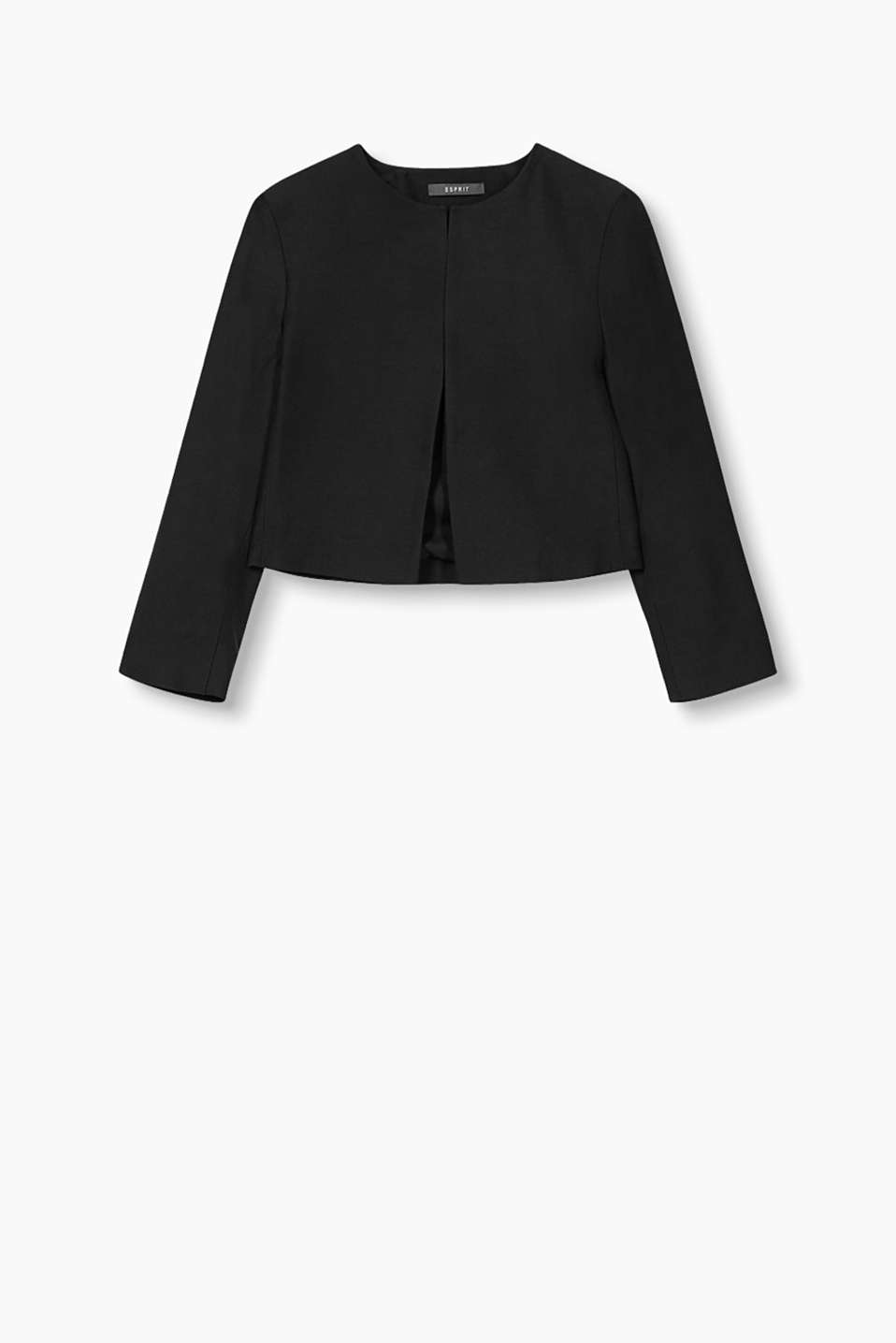 This short open front blazer chic companion for special occasions and a smart business piece!