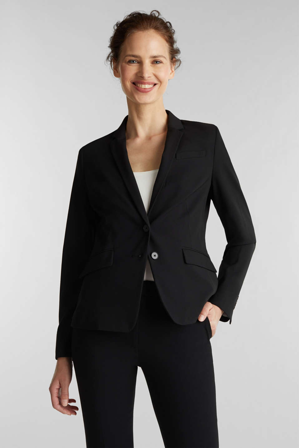 Esprit - Taillierter Business-Blazer mit Stretch