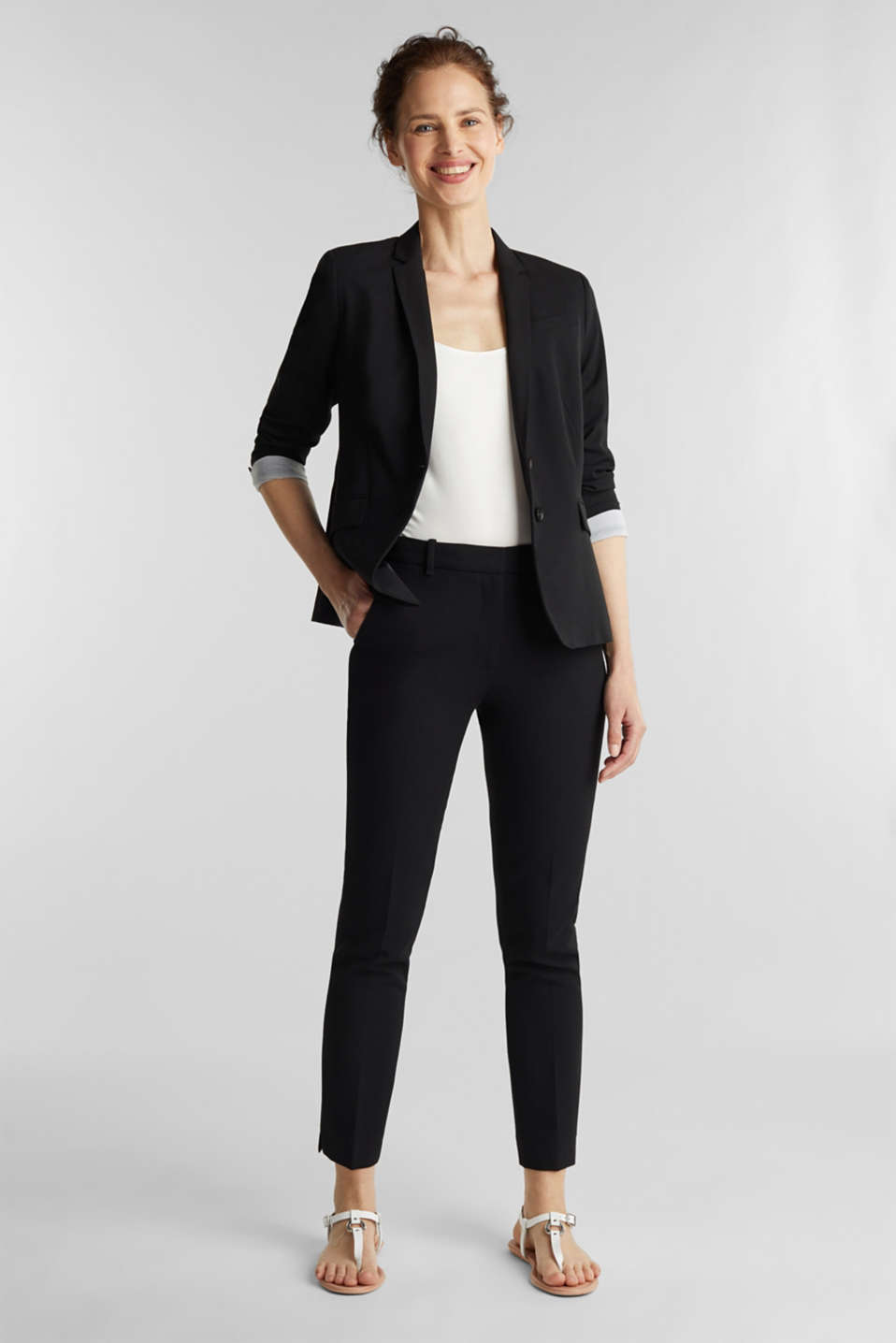 Figursyet businessblazer med stretch