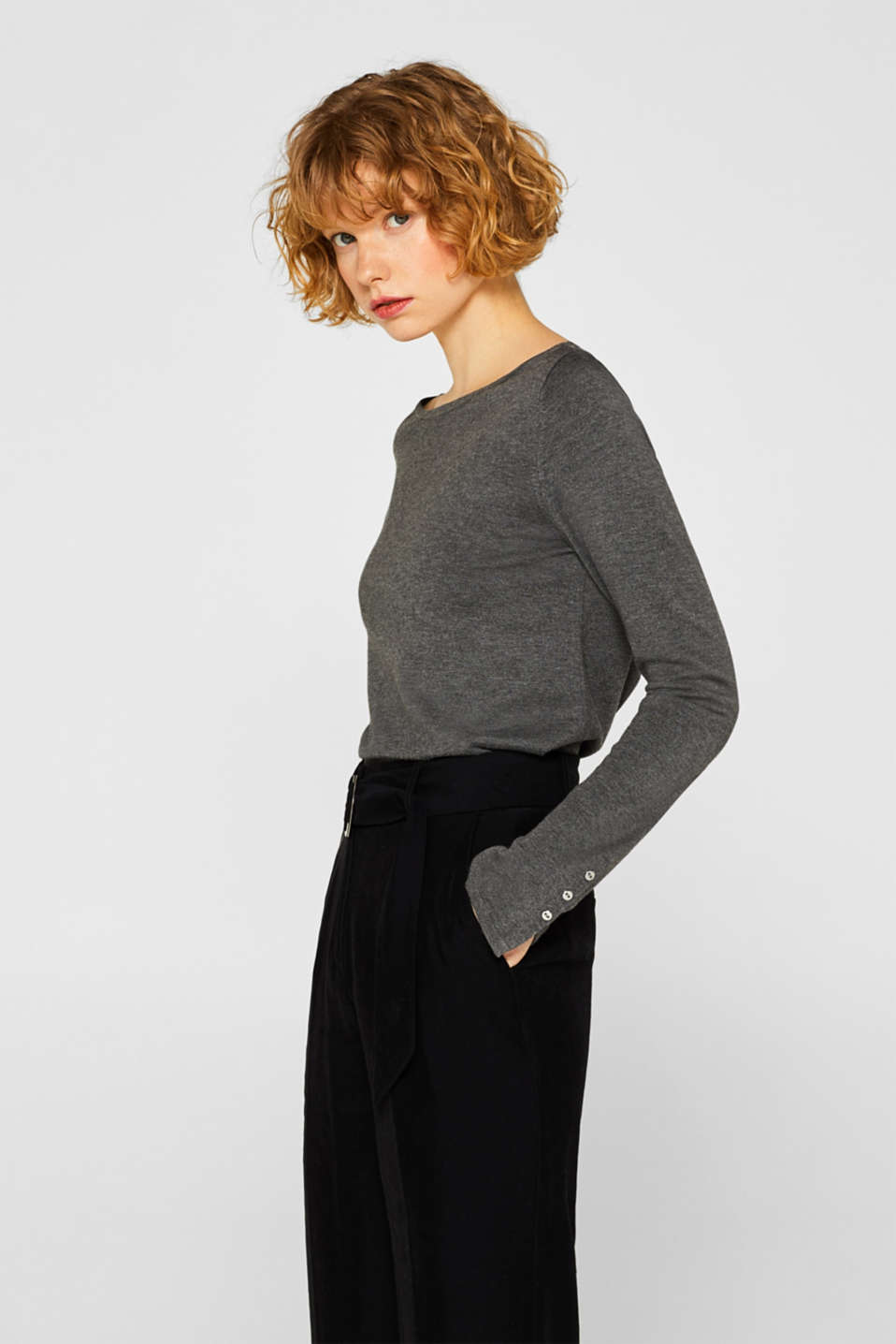 Fine knit jumper with stretch for comfort, GUNMETAL 5, detail image number 0