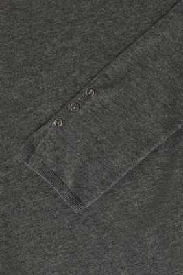 Fine knit jumper with stretch for comfort, GUNMETAL 5, detail