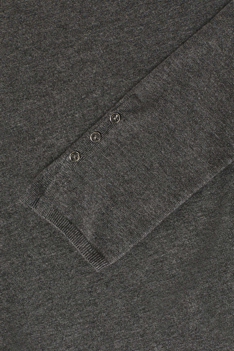 Fine knit jumper with stretch for comfort, GUNMETAL 5, detail image number 4