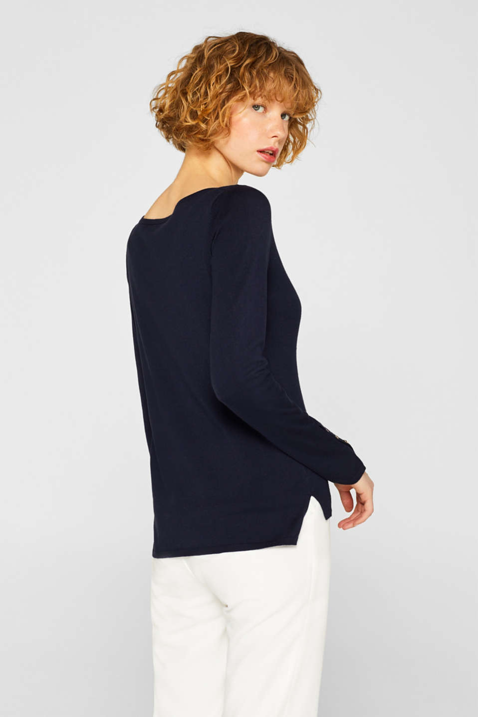 Fine knit jumper with stretch for comfort, NAVY, detail image number 3
