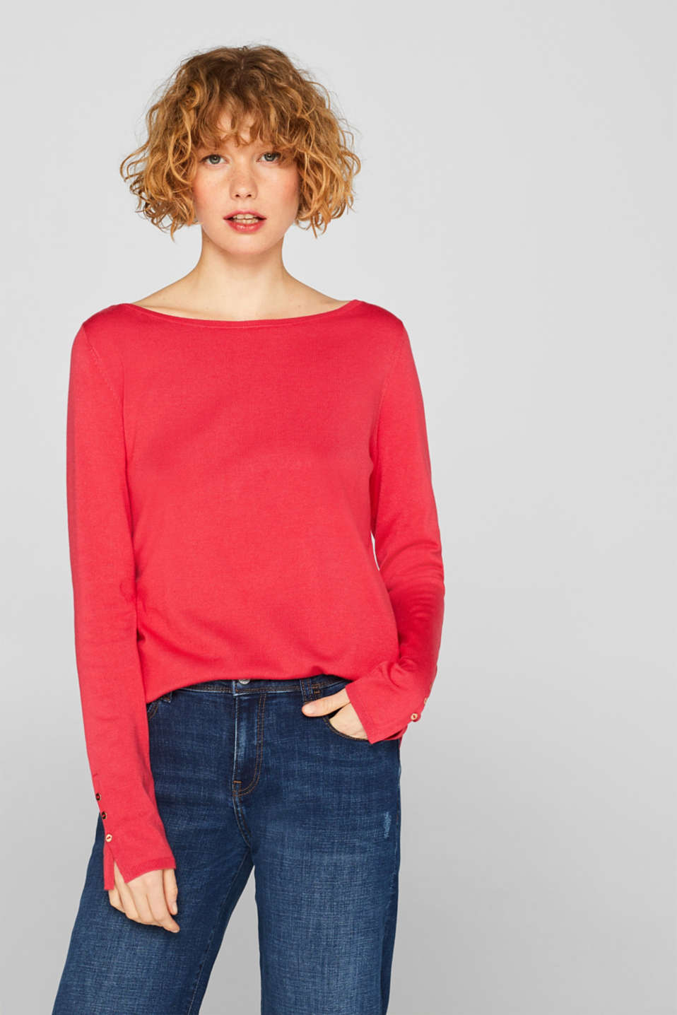 Esprit - Fine knit jumper with stretch for comfort