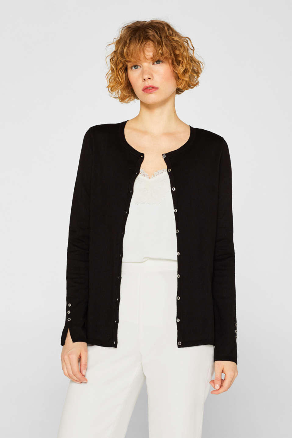 Fine knit cardigan with a round neckline, BLACK, detail image number 0