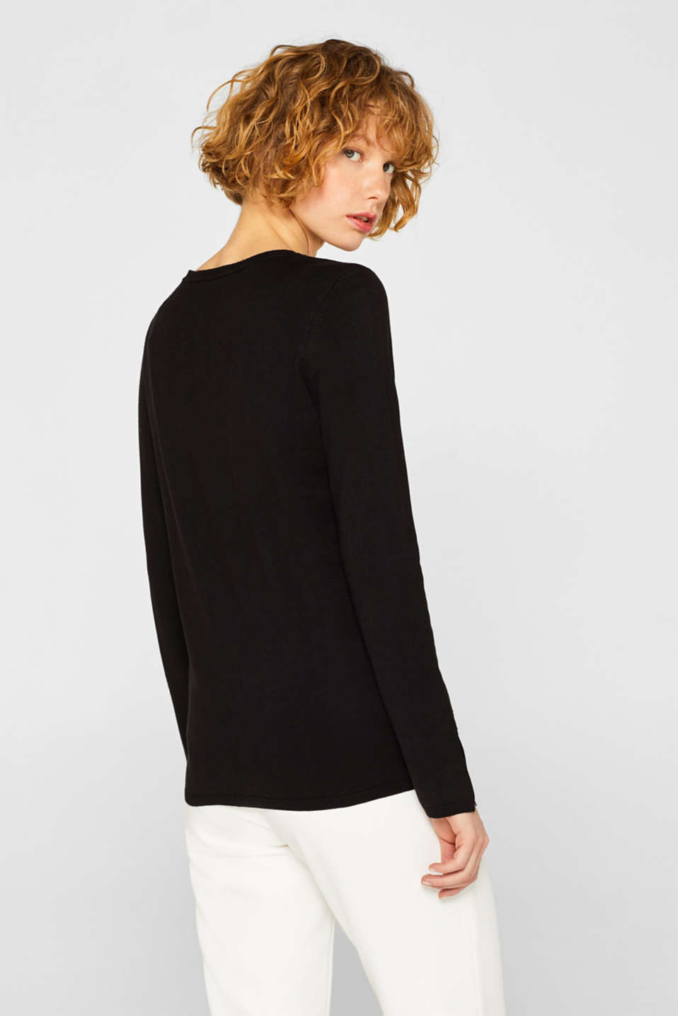 Fine knit cardigan with a round neckline, BLACK, detail image number 3