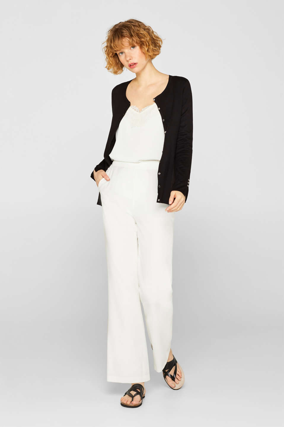 Fine knit cardigan with a round neckline, BLACK, detail image number 1