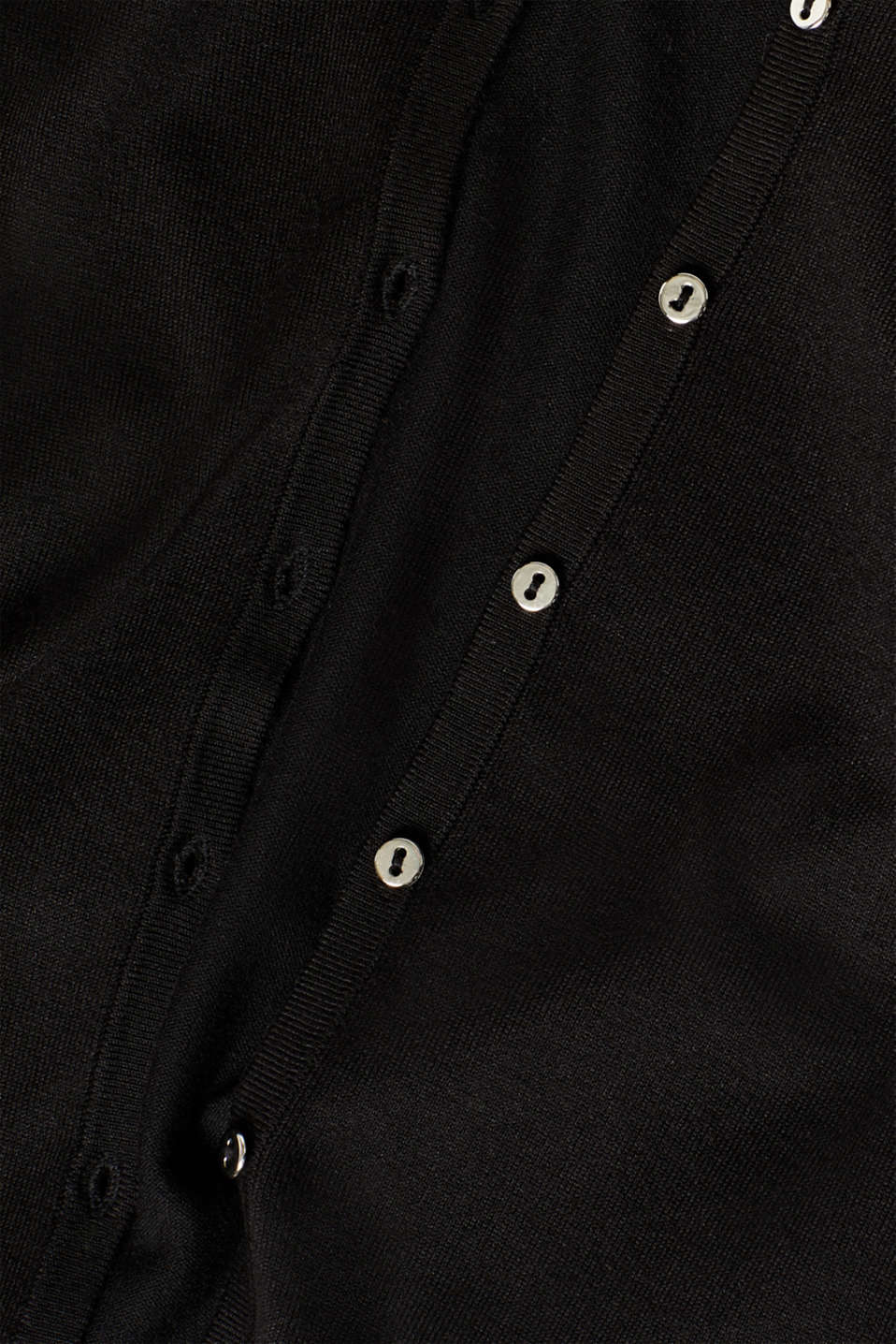 Fine knit cardigan with a round neckline, BLACK, detail image number 4