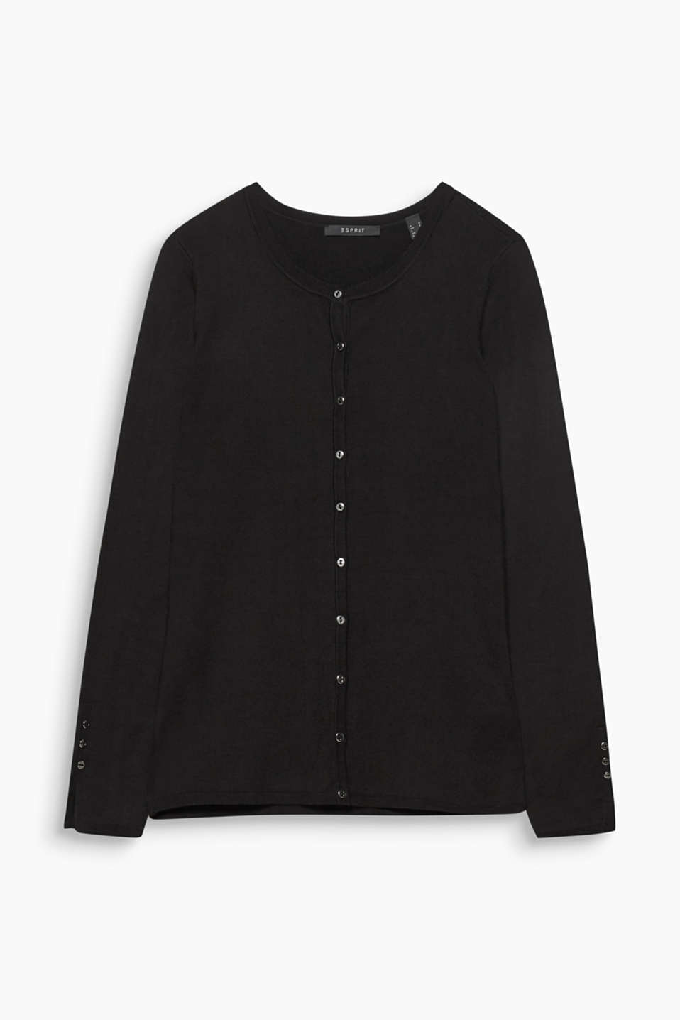 Fine knit cardigan with a round neckline, BLACK, detail image number 5