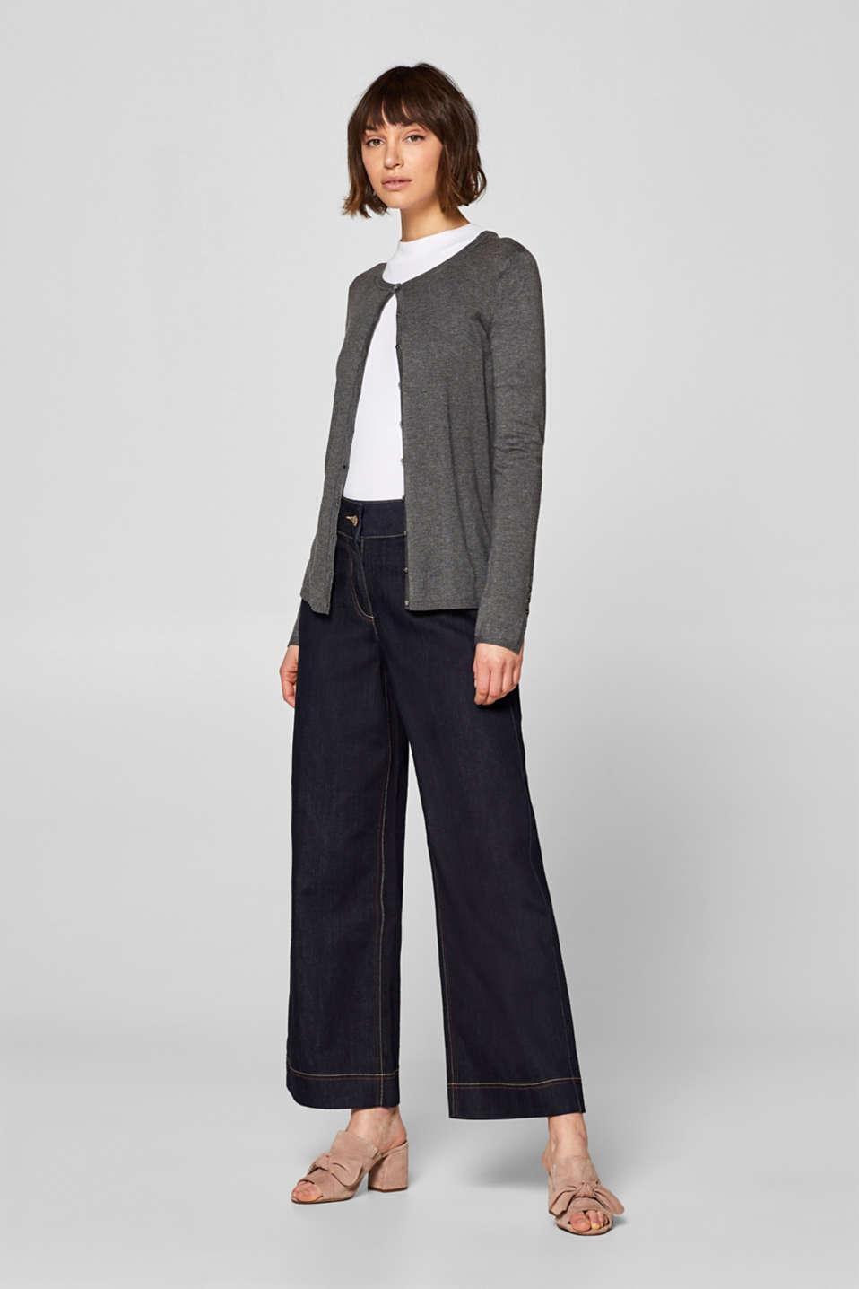 Fine knit cardigan with a round neckline, GUNMETAL 5, detail image number 1