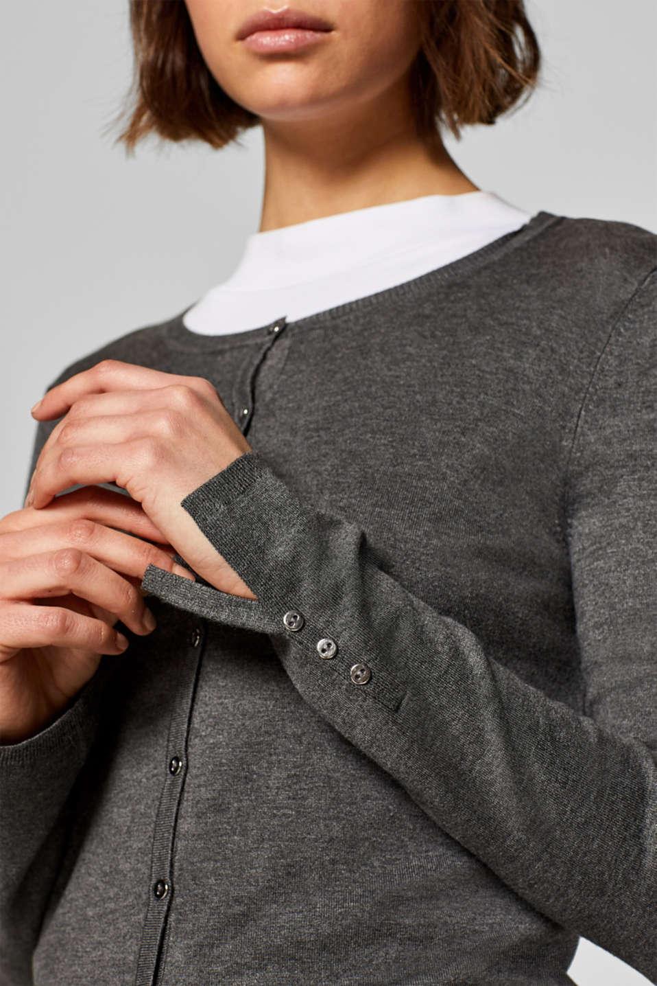 Fine knit cardigan with a round neckline, GUNMETAL 5, detail image number 2