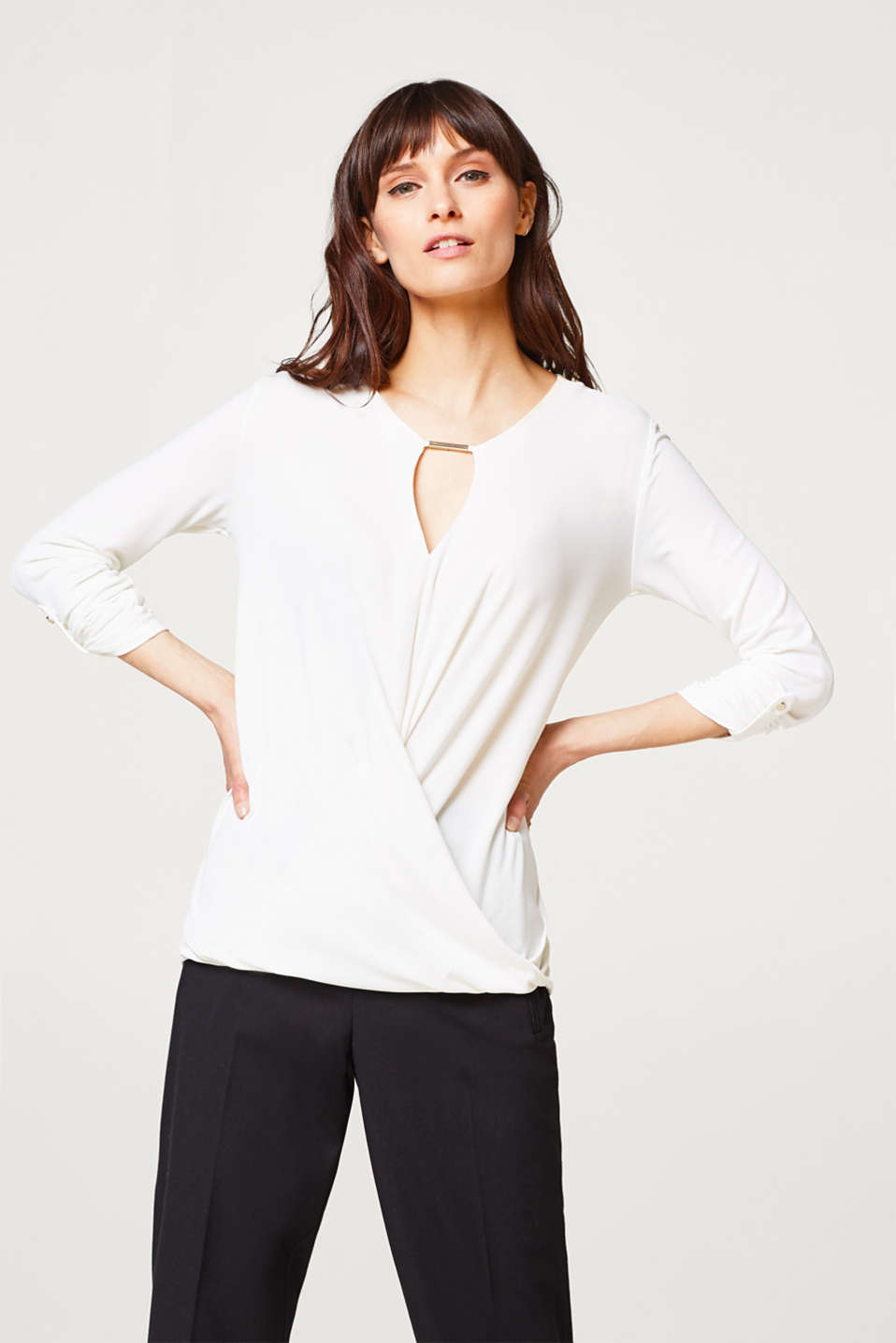 Fließendes Stretch-Shirt mit Drape-Effekt