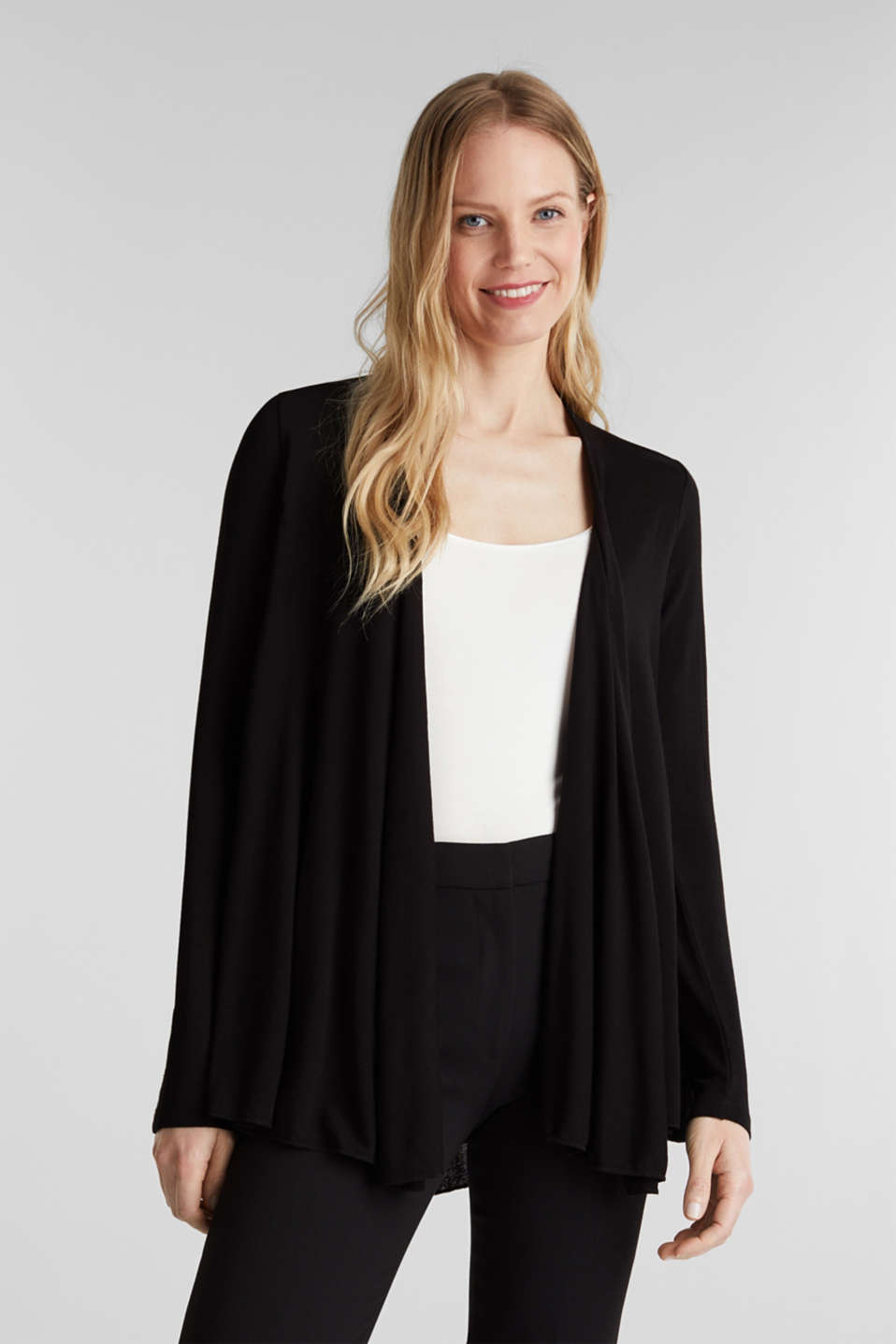 Flowing stretch jersey cardigan