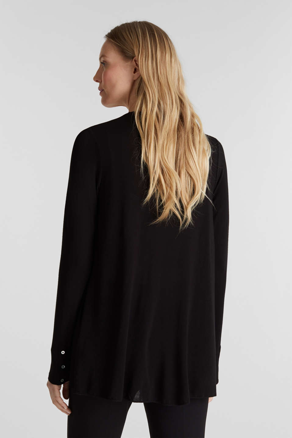 Flowing stretch jersey cardigan, BLACK, detail image number 3