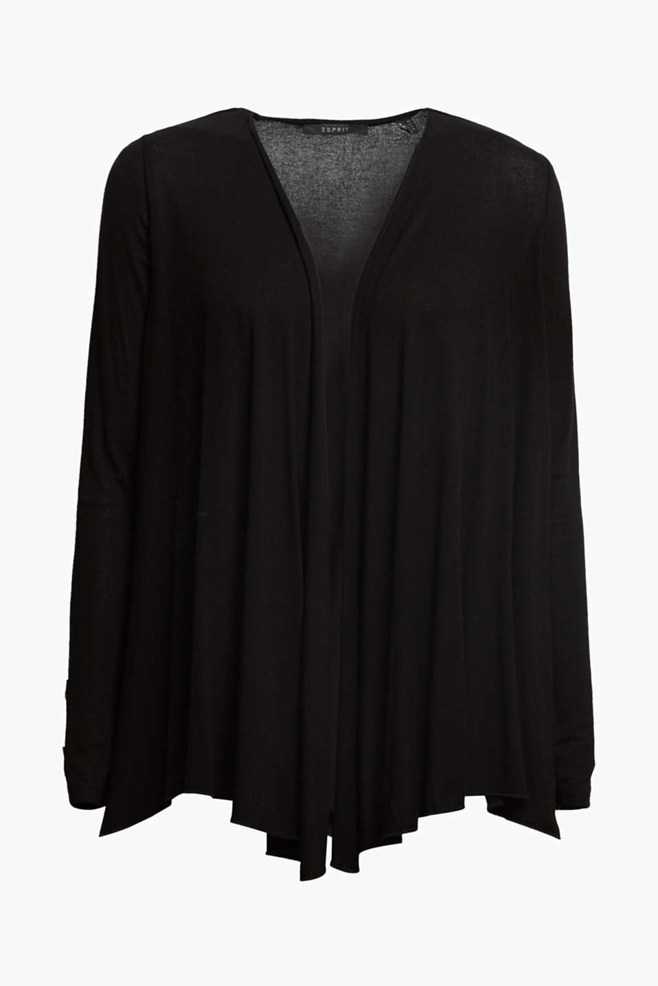 Flowing stretch jersey cardigan, BLACK, detail image number 6