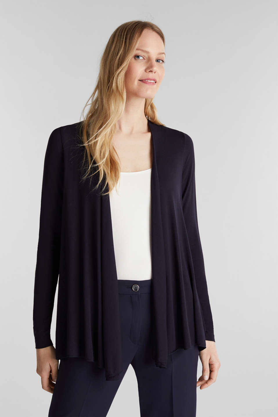 Flowing stretch jersey cardigan, NAVY, detail image number 0