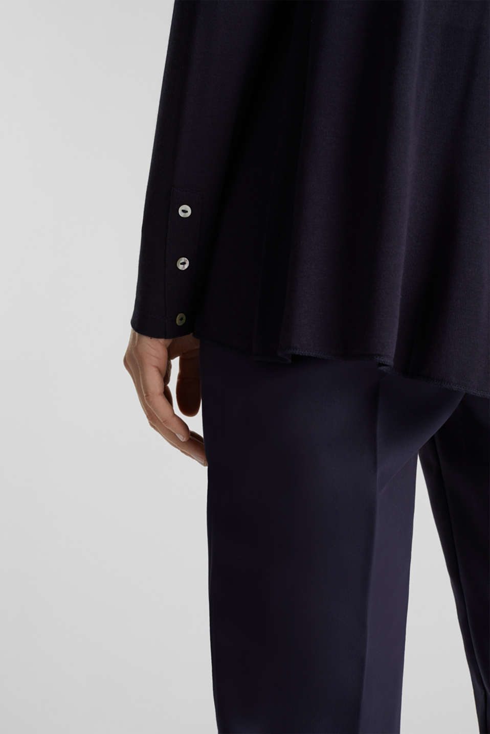Flowing stretch jersey cardigan, NAVY, detail image number 2