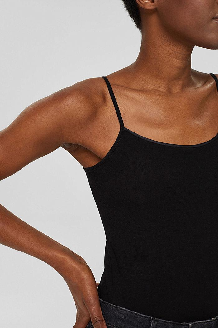 Stretch-Top mit Satin-Blenden, BLACK, detail image number 2