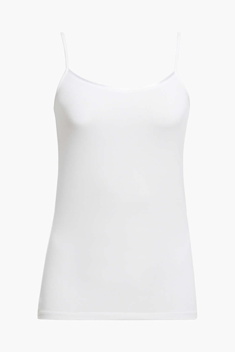 This soft, stretch jersey top with a shimmering bound neckline is an essential basic piece!